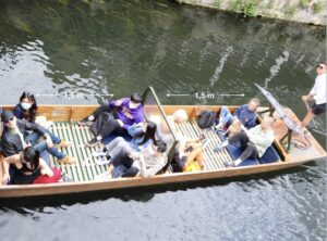 shared punting tour in cambridge with social distancing measures in place